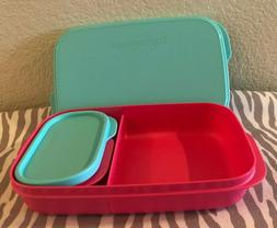 Tupperware Slim Lunch Divided Container w/ Snack Cup Pink /