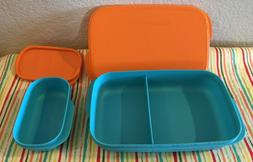 Tupperware Slim Lunch Divided Container w/ Snack Cup Orange