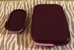 Tupperware Slim Lunch Divided Container w/ Snack Cup Lilac /