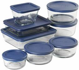 Anchor Hocking Snug Fit Food Storage 16 Piece Set Navy Glass