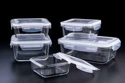 Glass Food Storage Container 10pc Set with Airtight Snap Loc