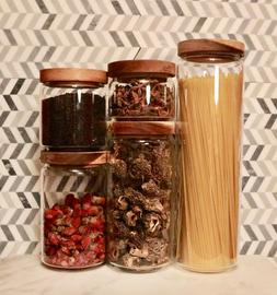 Stackable Glass Jar Storage Container With Wood Lids.  Food