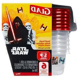 GLAD STAR WARS 9 ounce 6 count small snack container