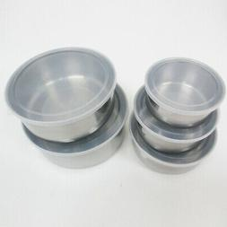 10 Pcs Steel Metal Food Storage Saver Containers Mixing Bowl