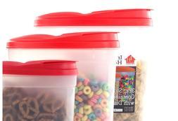 Plastic Food Storage Container Cereal Dispenser Set  – Red