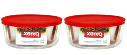 Pyrex Storage Plus 7-Cup Round Storage Dish with Red Plastic