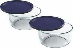 Pyrex Storage Plus 7-Cup Round Glass Food Storage Dish, Blue