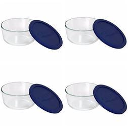 Pyrex Storage Plus 7-cup Round Glass Food Storage Dish Blue