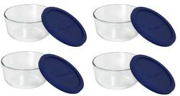 Pyrex Storage 4 Cup Round Dish, Clear with Blue Lid, Pack of