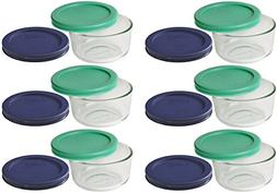 Pyrex Storage 1 Cup Round Dish, Clear with Green + Blue Lids