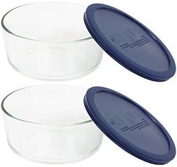 Pyrex Storage 4-Cup Round Dish with Dark Blue Plastic Cover,