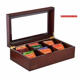 Volenx Tea Chest Box, Wooden Tea Box Storage Organizer with