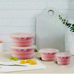 Collapsible Silicone Food Storage Container set Salad Prep B