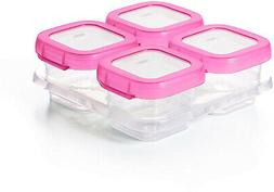 OXO Tot Baby Blocks Food Storage Containers, Pink, 4 oz