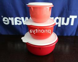 Tupperware Classic Mixing Bowl Set of 3 Red Watermelon Coral