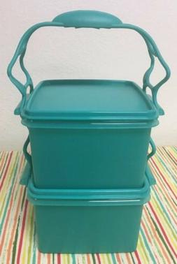Tupperware Lunch Box Containers With Carry all Handle Teal 7