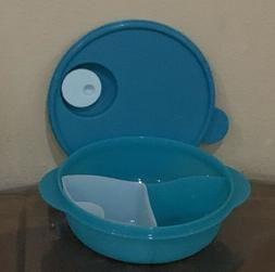 TUPPERWARE NEW TURQUOISE MICROWAVE LUNCH BOWL DIVIDED DISH V