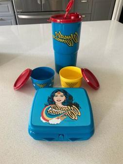 Tupperware Wonder Woman Lunch Set Tumbler Sandwich Keeper Bo