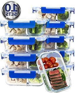 Two Compartment Glass Meal Prep Containers – Glass Food S