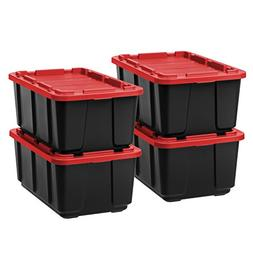 IRIS 27 Gallon Utility Tough Tote, 4 Pack, Black with Red Li