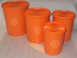 Vintage Tupperware Servalier Canister Set of 4, Retro Orange