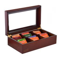 Volenx Tea Chest Box, Wooden Storage Organizer with Dividers