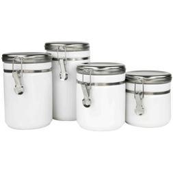 Home Basics White 4-Piece Ceramic Food Storage Canister Set