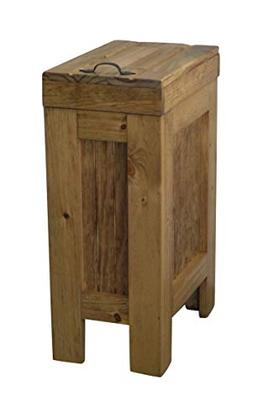 BuffaloWood Shop Wood Trash Bin Kitchen Trash Can Wood Trash
