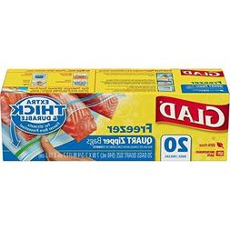 Glad Zipper Food Storage Freezer Bags - Quart Size - 80 Coun